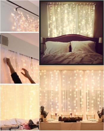 100 LED gelsvai baltos Kalėdinės lemputės baltais laidais