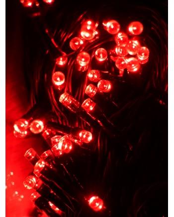 200 LED raudonos Kalėdinės lemputės juodais laidais
