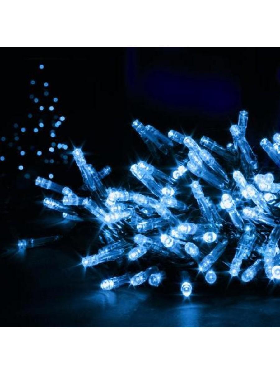 100 LED mėlynos Kalėdinės lemputės juodais laidais