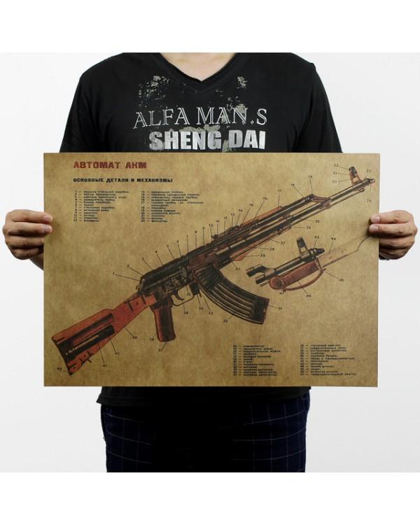 """Plakatas ant sienos """"AK47"""""""