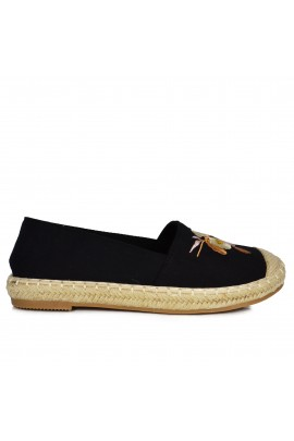 "Espadrilės ""Black Flowers"""