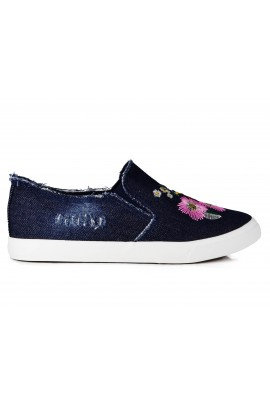 "Slip On avalynė ""Denim Flowers"""