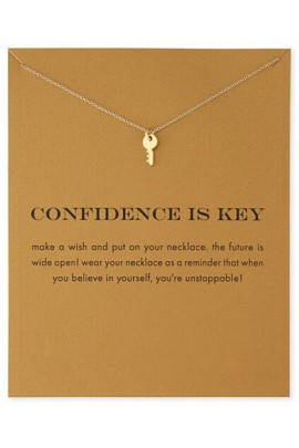 "Pakabukas su kortele ""Confidence Is Key"""